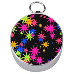 Colorful Stars Pattern Silver Compass by LalyLauraFLM