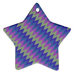 Diagonal Chevron Pattern Star Ornament (two Sides) by LalyLauraFLM