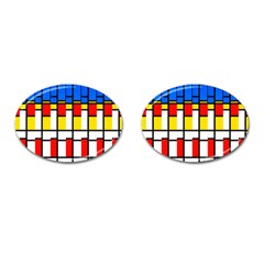 Colorful Rectangles Pattern Cufflinks (oval) by LalyLauraFLM