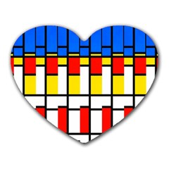 Colorful Rectangles Pattern Heart Mousepad by LalyLauraFLM