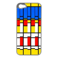 Colorful Rectangles Pattern Apple Iphone 5 Case (silver) by LalyLauraFLM