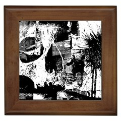 Grunge Skull Framed Ceramic Tile