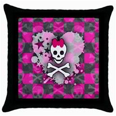 Princess Skull Heart Black Throw Pillow Case
