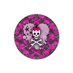 Princess Skull Heart Drink Coasters 4 Pack (round)