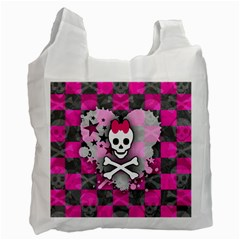 Princess Skull Heart White Reusable Bag (one Side)