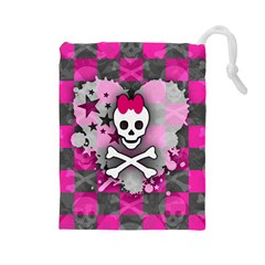 Princess Skull Heart Drawstring Pouch (large)