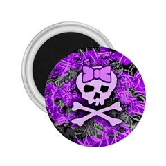 Purple Girly Skull 2 25  Button Magnet