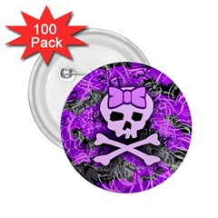 Purple Girly Skull 2 25  Button (100 Pack)