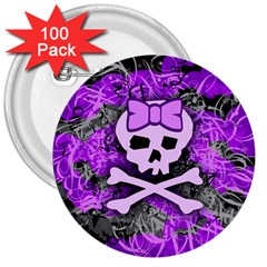 Purple Girly Skull 3  Button (100 Pack)