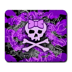 Purple Girly Skull Large Mouse Pad (rectangle)
