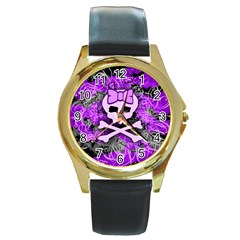 Purple Girly Skull Round Leather Watch (gold Rim)