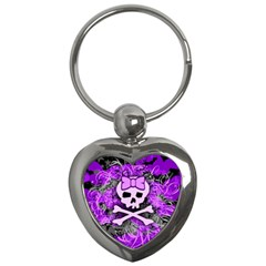 Purple Girly Skull Key Chain (heart)