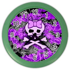 Purple Girly Skull Wall Clock (color)
