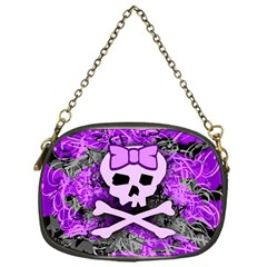 Purple Girly Skull Chain Purse (one Side) by ArtistRoseanneJones