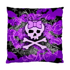 Purple Girly Skull Cushion Case (two Sided)