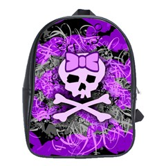 Purple Girly Skull School Bag (large)