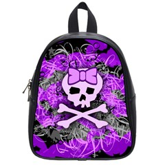 Purple Girly Skull School Bag (small)