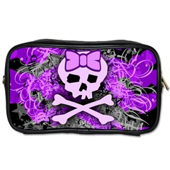 Purple Girly Skull Travel Toiletry Bag (one Side)