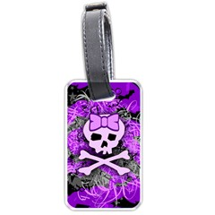 Purple Girly Skull Luggage Tag (two Sides)
