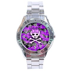 Purple Girly Skull Stainless Steel Watch