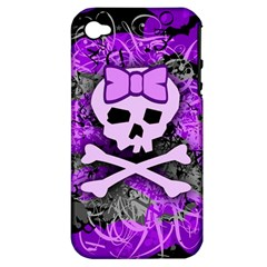 Purple Girly Skull Apple Iphone 4/4s Hardshell Case (pc+silicone)