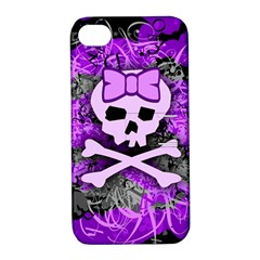 Purple Girly Skull Apple Iphone 4/4s Hardshell Case With Stand