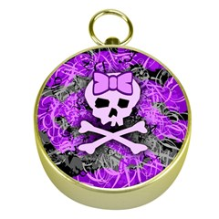 Purple Girly Skull Gold Compass