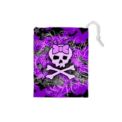 Purple Girly Skull Drawstring Pouch (small)