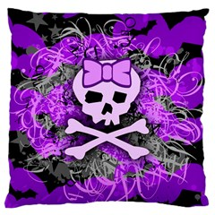 Purple Girly Skull Large Flano Cushion Case (one Side)