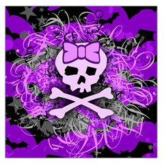 Purple Girly Skull Large Satin Scarf (square)