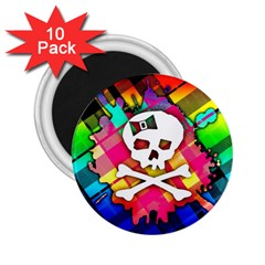 Rainbow Plaid Skull 2 25  Button Magnet (10 Pack)