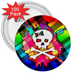 Rainbow Plaid Skull 3  Button (100 Pack)