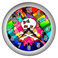 Rainbow Plaid Skull Wall Clock (silver)