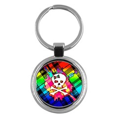 Rainbow Plaid Skull Key Chain (round)