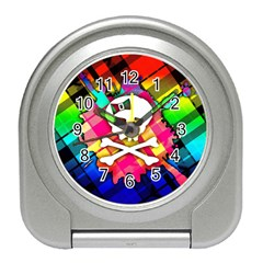 Rainbow Plaid Skull Desk Alarm Clock
