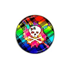 Rainbow Plaid Skull Golf Ball Marker 4 Pack (for Hat Clip) by ArtistRoseanneJones
