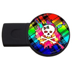Rainbow Plaid Skull 4gb Usb Flash Drive (round) by ArtistRoseanneJones