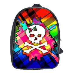 Rainbow Plaid Skull School Bag (large)