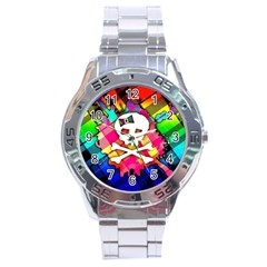 Rainbow Plaid Skull Stainless Steel Watch