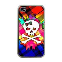 Rainbow Plaid Skull Apple Iphone 4 Case (clear)