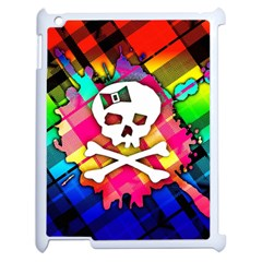 Rainbow Plaid Skull Apple Ipad 2 Case (white) by ArtistRoseanneJones