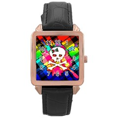 Rainbow Plaid Skull Rose Gold Leather Watch