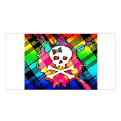 Rainbow Plaid Skull Satin Shawl