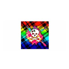 Rainbow Plaid Skull Satin Wrap