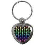 Rainbow Skull and Crossbones Pattern Key Chain (Heart) Front