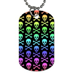Rainbow Skull And Crossbones Pattern Dog Tag (one Sided) by ArtistRoseanneJones