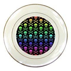 Rainbow Skull And Crossbones Pattern Porcelain Display Plate by ArtistRoseanneJones