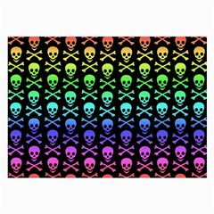 Rainbow Skull And Crossbones Pattern Glasses Cloth (large) by ArtistRoseanneJones