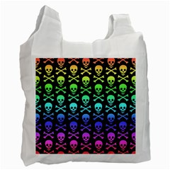 Rainbow Skull And Crossbones Pattern White Reusable Bag (one Side) by ArtistRoseanneJones