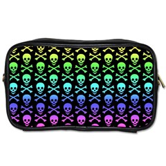 Rainbow Skull And Crossbones Pattern Travel Toiletry Bag (one Side) by ArtistRoseanneJones